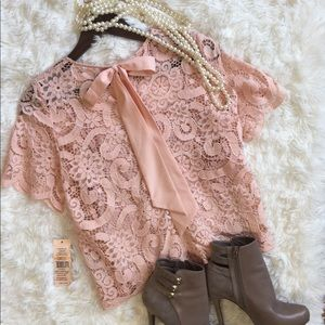 Nanette Lepore NWT Sheer Pink Lace Blouse Top Sm